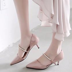 Giày cao gót phối quai ngọc trai thời trang - LN453