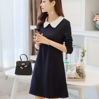 Đầm dài tay Hàn Quốc Zani ZWD3333DB - Màu Xanh Đen