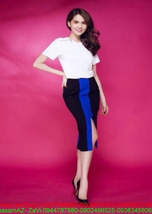Sét rời áo kiểu màu trắng và chân váy xẻ đùi phối màu SEV161 1