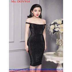 Đầm ôm dự tiệc bẹt vai ngang sành điệu sang trọng DOV914