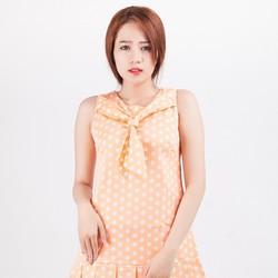 Đầm Suông Phối Nơ Chấm Bi MÀU CAM