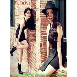 Đầm body kiểu cổ yếm xếp ly sành điệu cá tính DOV882