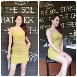 sét áo croptop nút mạ vàng+chân váy