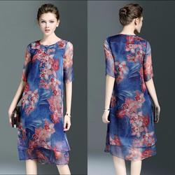 Đầm suông voan in hoa BD195 - HÀNG NHẬP HQ CAO CẤP Y HÌNH