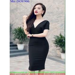 Đầm ôm cổ V kiểu hở lưng sành điệu màu đen cá tính DOV906