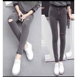 Quần jeans thun rách gối cá tính