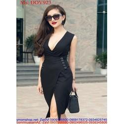 Đầm ôm đen sang trọng thiết kế chéo tà sành điệu thời trang DOV923
