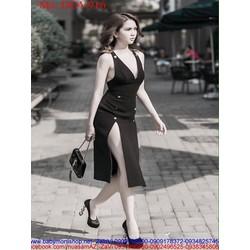 Đầm ôm cổ V xẻ đùi sexy đính nút sành điệu như ngọc trinh DOV916