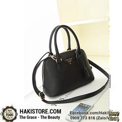 Túi xách tay da mềm Hàn Quốc sang trọng màu đen