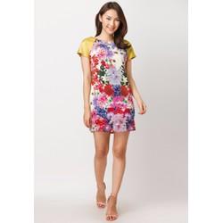 Đầm suông in hoa tay phối màu - Vàng - CIRINO