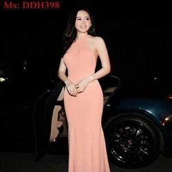 Đầm dạ hội thiết kế cổ yếm sexy màu hồng dễ thương và quyến rũ DDH398