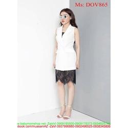 Đầm ôm công sở dạng vest phối ren sành điệu thời trang DOV865