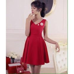 Đầm xoè hở lưng cài trâm Hàn Quốc