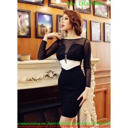 Đầm ôm đen dài tay phối lưới sang trọng và quý phái DOV846