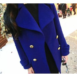 Áo khoác dạ có nón màu xanh