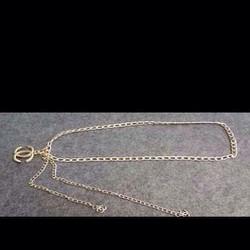 Thắt lưng nữ phối đầm dây xích vàng khóa channel sang trọng TLD45