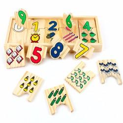 Thẻ gỗ đố vui ghép số và hình