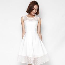Đầm xoè thiết kế chồng vạt phối voan