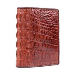 Bóp nam da cá sấu gai lưng kiểu đứng màu nâu đỏ HC2259