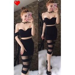 Set áo cúp + chân váy ôm phối lưới- A27071