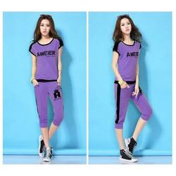 Bộ mặc nhà nữ quần lửng áo bo eo thể thao