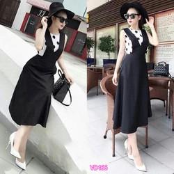 Đầm yếm xòe chấm bi  VD0160
