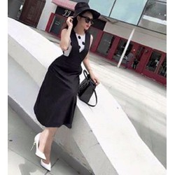 Đầm yếm xòe chấm bi - SETVD466