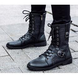 Giày combat boot phối vải jean chữ nổi