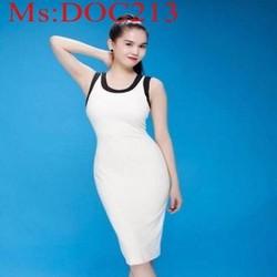 Đầm body ôm dáng trẻ đẹp phối viền đen cá tính DOC213