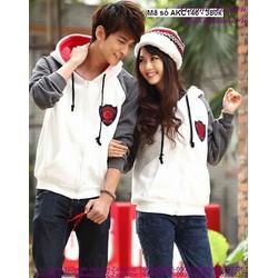 Áo khoác cặp tình nhân có nón tay phối màu sành điệu xAKC146