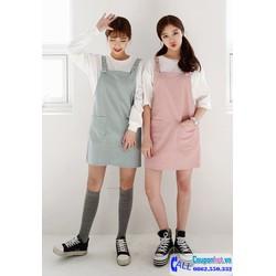 Váy yếm kaki 2 túi cực dễ thương