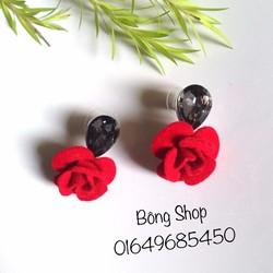 Bông tai hoa đỏ đá khói