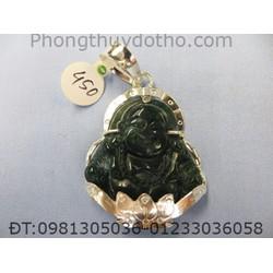 Mặt dây chuyền - Phật Di lặc đá thạch anh xanh dài 4,5 rộng 3,8 cm