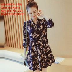 Đầm bầu Hàn Quốc tay dài họa tiết hoa xinh xắn zzDB576