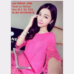 Đầm bầu Hàn Quốc tay lỡ ren hoa nổi cao cấp sang trọng zzDB569
