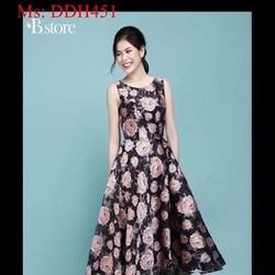 Đầm maxi xòe kiểu đơn giản vải hoa hồng xinh đẹp DDH451