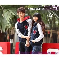 Áo khoác cặp tình nhân có nón tay phối màu năng động xAKC147