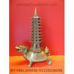 Rùa đầu rồng cõng tháp văn xương đồng cao 28 cm
