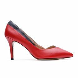 Giày cao gót bít mũi nhọn phối 2 màu 557