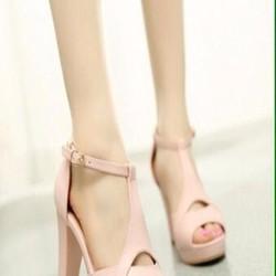 Giày cao gót nữ công sở màu hồng gót vuông sành điệu GCN232