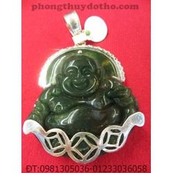 Mặt dây chuyền - Phật Di lặc đá thạch anh xanh bọc bạc 5 x 4,4 cm