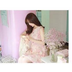 Đầm sat nach họa tiết hoa hồng Dowisi YW441