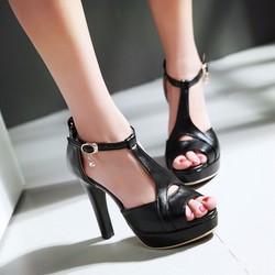Giày cao gót nữ hở mũi cách điệu - LN600