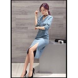Đầm tay dài kèm nịt