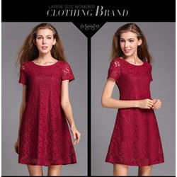 Đầm bigsize ren  suông tay con BA501