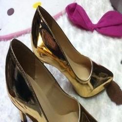 Giày cao gót nữ da vàng mũi nhọn sang trọng GCN258