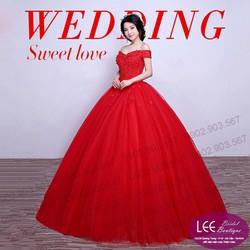 Áo cưới trễ vai màu đỏ - M160901