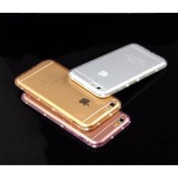 Ốp Lưng TPU IPhone 5, 5S, SE Viền Đính Đá Siêu Sang - Trắng Trong