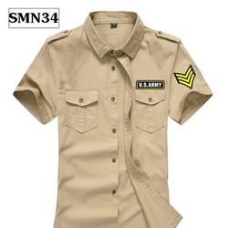 Áo Sơ Mi Nam Kaki Tay Ngắn Túi Hộp Logo US ARMY - Hàng Cao Cấp