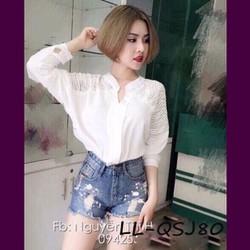 QNU080 - Quần short jean lưng cao tua rua in màu trắng